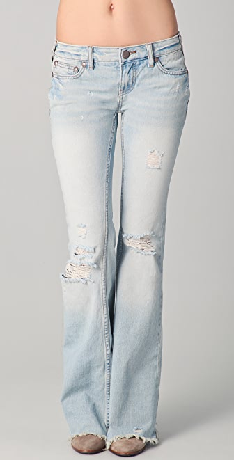Free People Destroyed Relaxed Flare Jeans | SHOPBOP