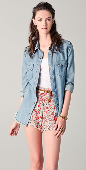 Free People True Grit Denim Top