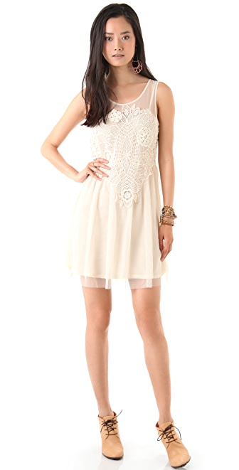 Free People Crochet Applique Dress