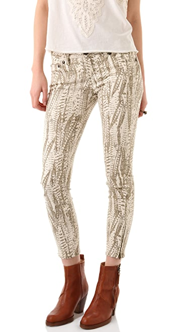 Free People Feather Print Cropped Skinny Jeans