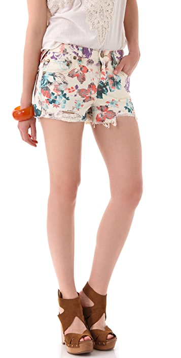 Free People Floral Cutoff Shorts