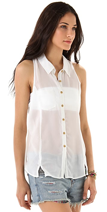 Free People Collar Button Down Top