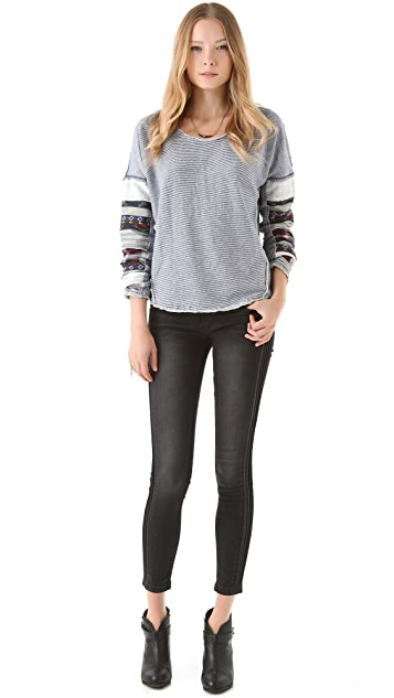Free People Patch Sleeve Pullover