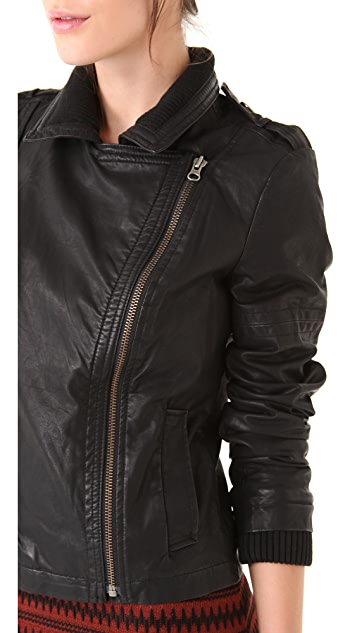 Free People Vegan Leather with Knit Rib Jacket
