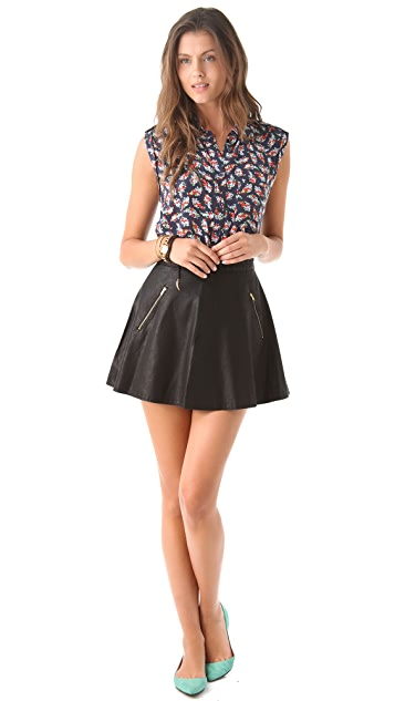 Free People Vegan Leather Circle Skirt
