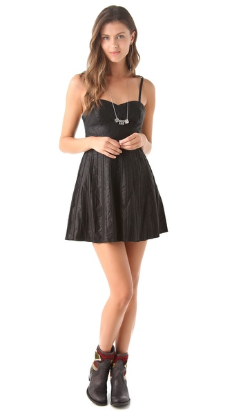 Free People Vegan Leather Pleated Dress