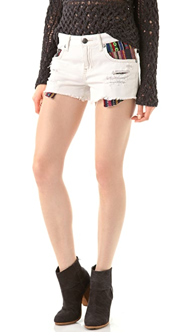 Free People White Baja Shorts