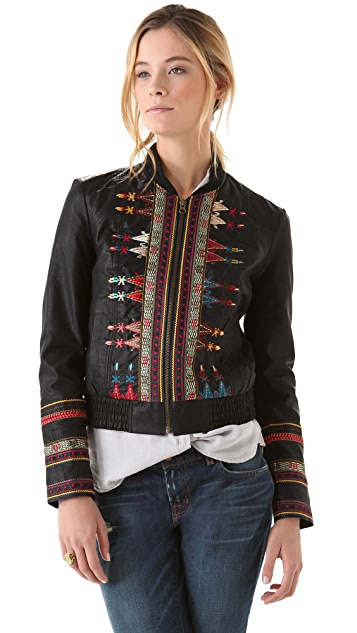 Free People Seamed & Embroidered Jacket in Vegan Leather