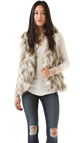 Free People Call of The Wild Reversible Faux Fur Vest