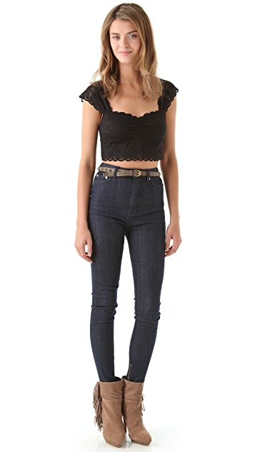 Free People Scalloped Edge Crop Top