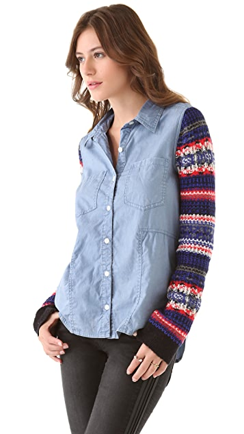 Free People Sweater Sleeve Button Down Top