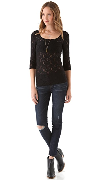 Free People Scalloped Lace Layering Top