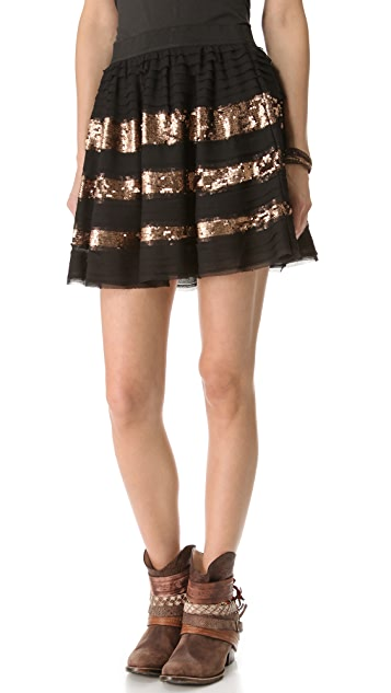 Free People Sparkle and Stripe Skirt