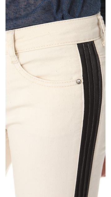 Free People Skinny Jeans with Vegan Leather Trim