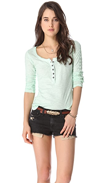 Free People Shell Stitch Lace Top