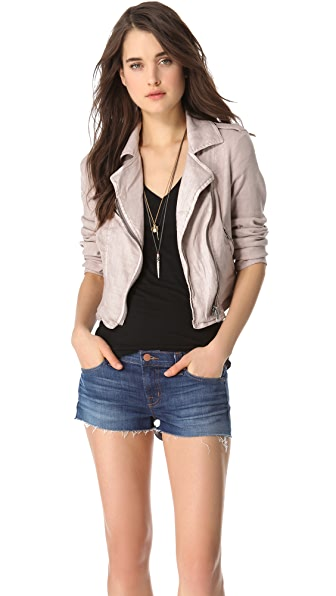 Free People Linen Moto Jacket