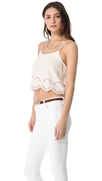 Free People Embroidered Hem Camisole