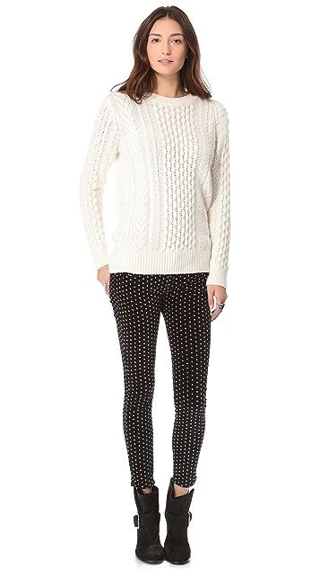 Free People Polka Dot Crop Skinny Pants