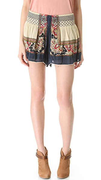 Free People Scarf Printed Shorts