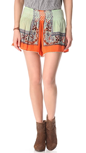 Free People Scarf Printed Shorts