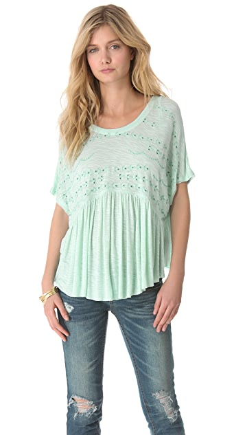 Free People Embroidered Boxy Top