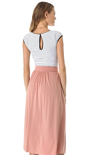 Free People Striped Cap Sleeve Tee