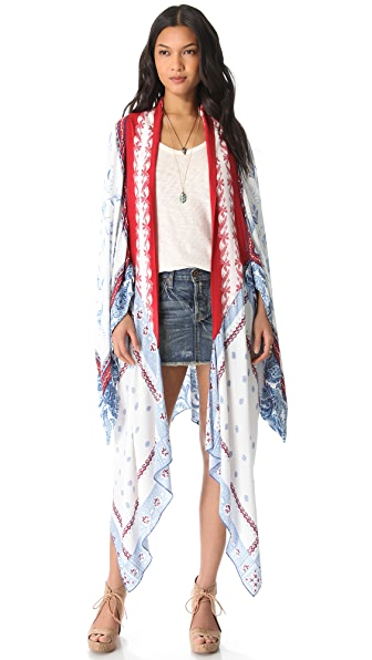 Free People Scarf Print Duster Cardigan