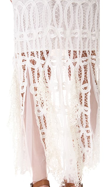 Free People Pieced Lace Maxi Skirt