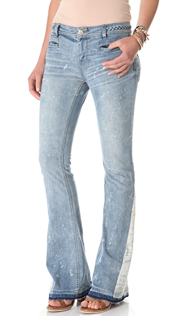Free People Braided Mermaid Flare Jeans