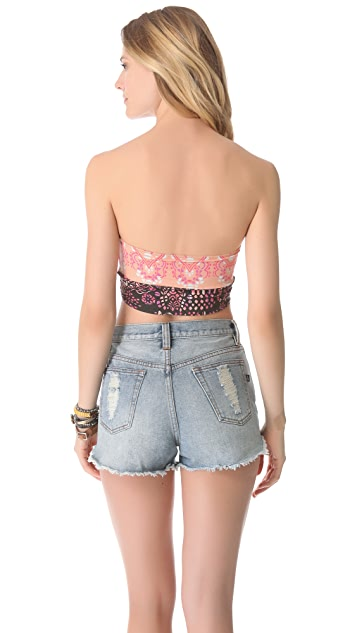 Free People Printed Seamed Crop Bandeau Bra