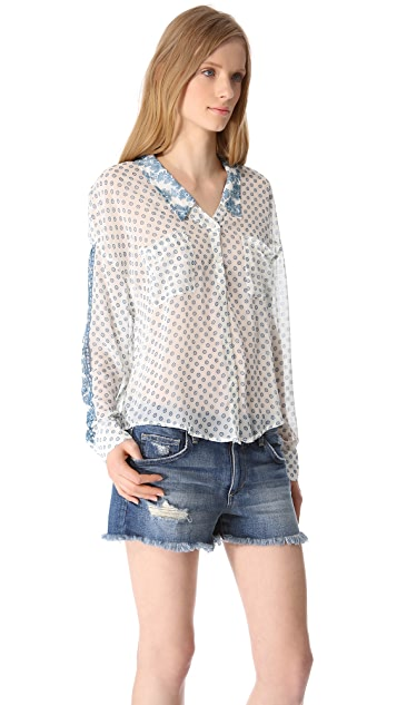 Free People Easy Rider Button Blouse