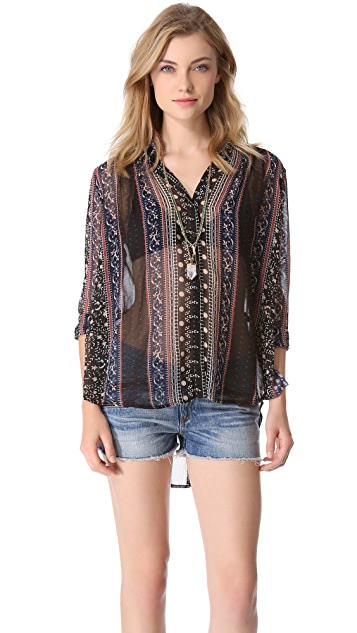 Free People Moonlight Mile Woven Top