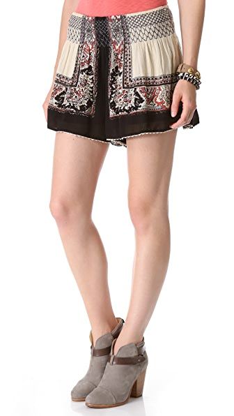 Free People Scarf Print Shorts
