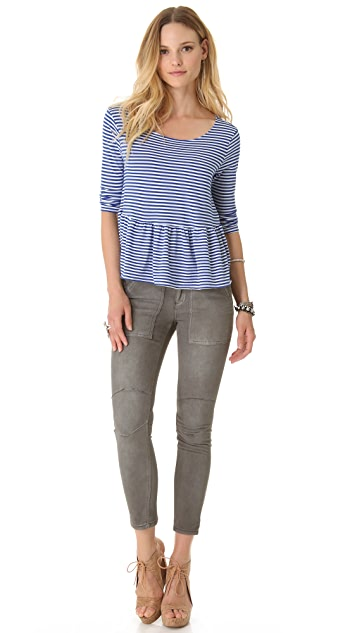 Free People Stripey Peplum Top