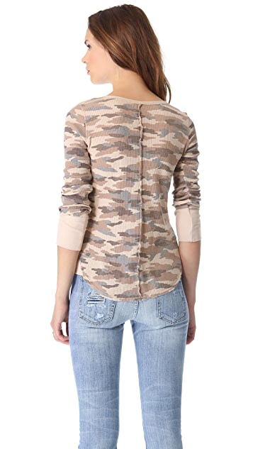 Free People Camo Desperate Thermal Top