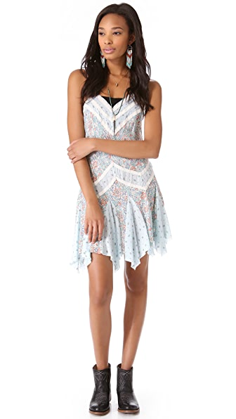 Free People Printed Pieced Slip Dress