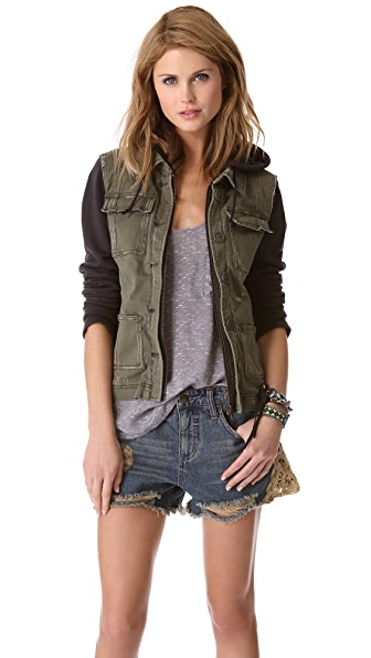Free People Pieced Twill Jacket