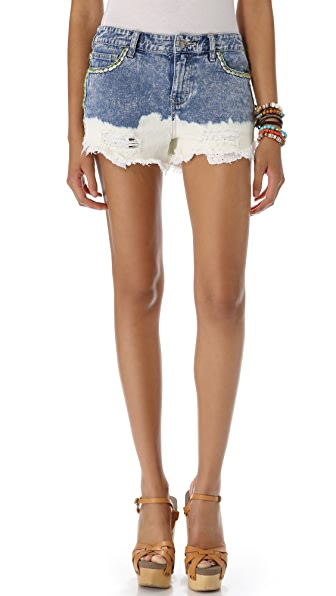 Free People Floral Embroidered Cutoff Shorts
