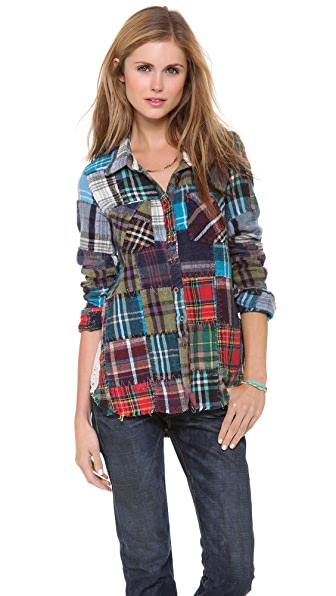 Free People Lost in Plaid Button Down