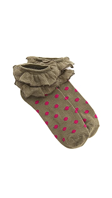 Free People Ruffled Dot Socks