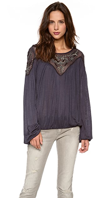 Free People Blue Sky Blouson Top