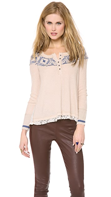 Free People Cabin in the Woods Top with Long Sleeves
