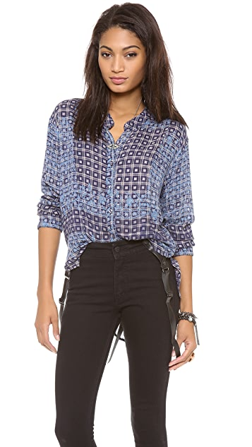 Free People Plaid Floral Caravan Top
