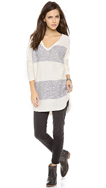 Free People Sequin Stripe Pullover