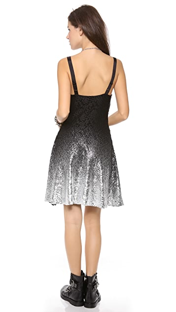 Free People Foil Ombre Lace Fit N Flare Dress