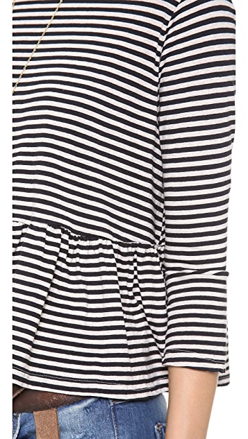 Free People Striped Peplum Top