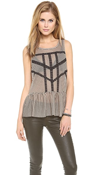 Free People Lace & Stripe Peplum Top