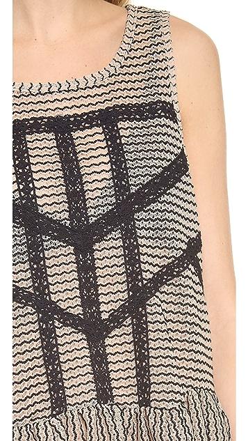 Free People Lace & Stripe Peplum Top