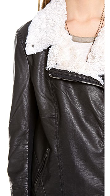 Free People Vegan Shearling Moto Jacket