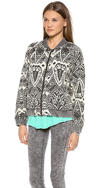 Free People Printed Quilted Bomber